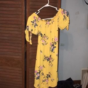 Yellow Rue 21 floral off the shoulder dress